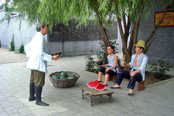 白洋淀文化苑――卖西瓜雕塑